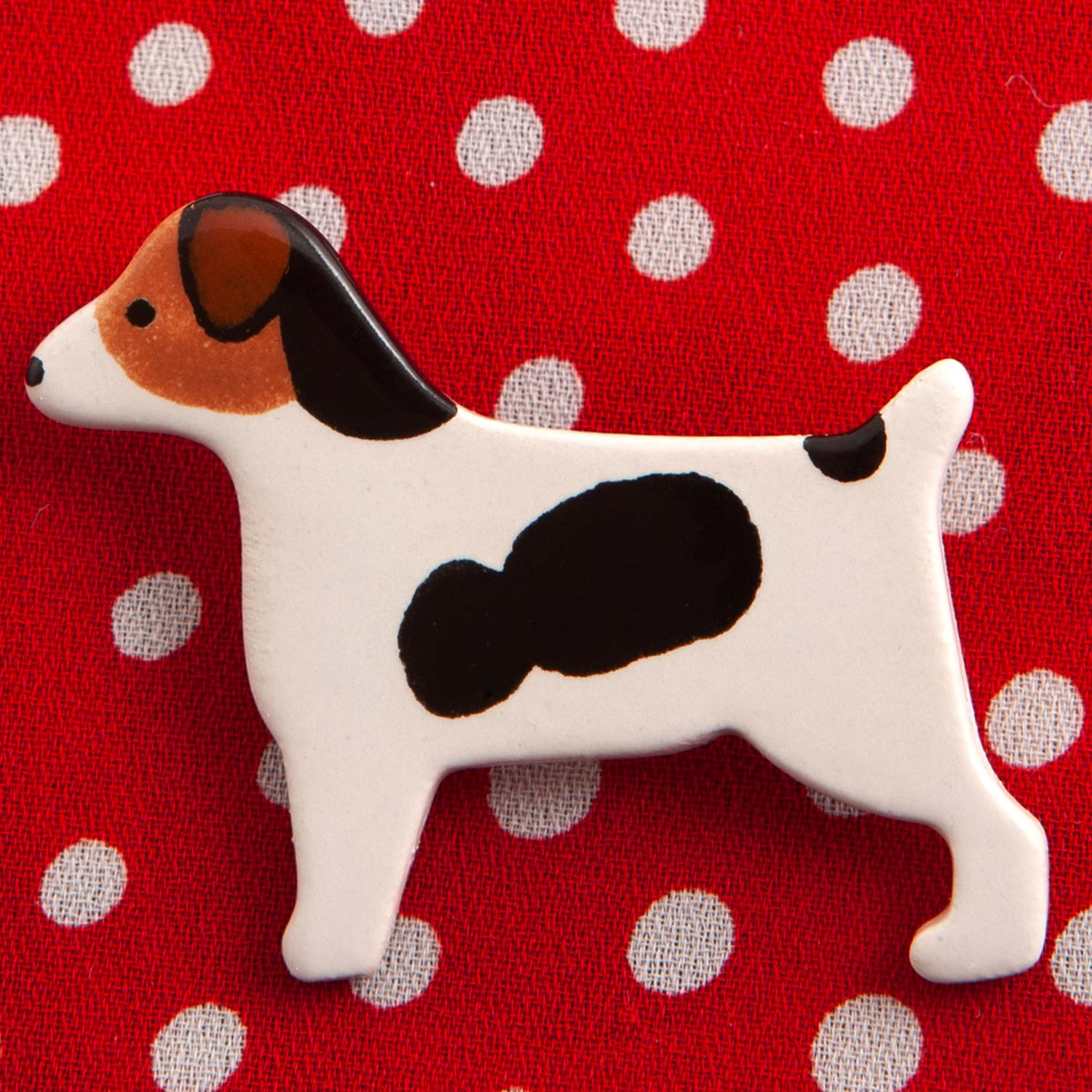 Dog Lover Gifts available at Dog Krazy Gifts – Ceramic Chocolate Labrador Brooch by Mary Goldberg of Stockwell Ceramics, Just Part Of Our Collection Of Jack Russell Themed Gifts, Available At www.dogkrazygifts.co.uk