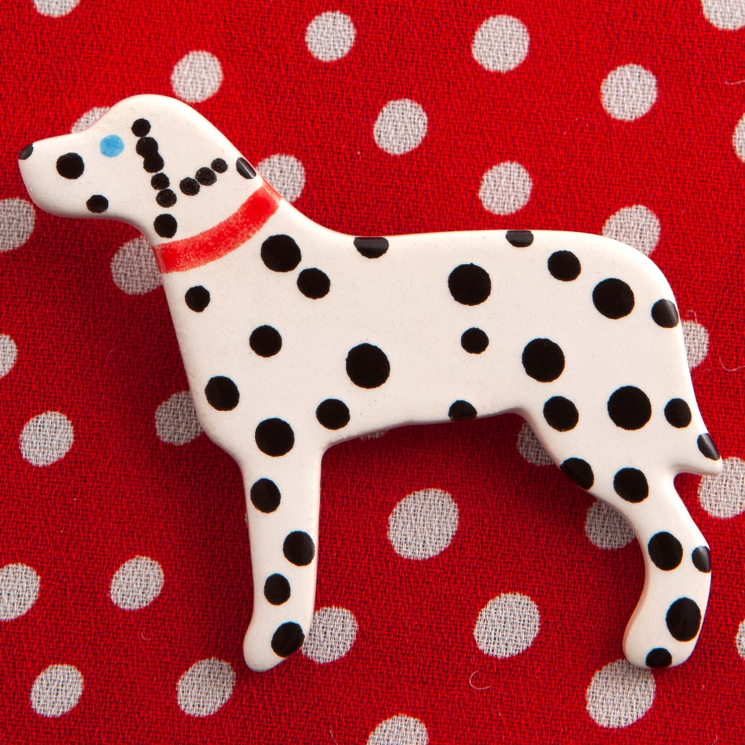 Dog Lover Gifts available at Dog Krazy Gifts – Ceramic Chocolate Labrador Brooch by Mary Goldberg of Stockwell Ceramics, Just Part Of Our Collection Of Dalmatian Themed Gifts, Available At www.dogkrazygifts.co.uk