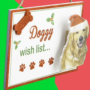 Dog Lover Gifts available at Dog Krazy Gifts - Doggy Xmas Wish List Sign part of the Christmas range available from DogKrazyGifts.co.uk