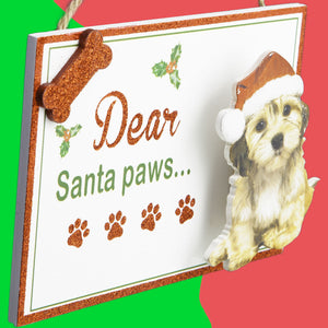Dog Lover Gifts available at Dog Krazy Gifts - Dear Santa Xmas Wish List Sign part of the Christmas range available from DogKrazyGifts.co.uk