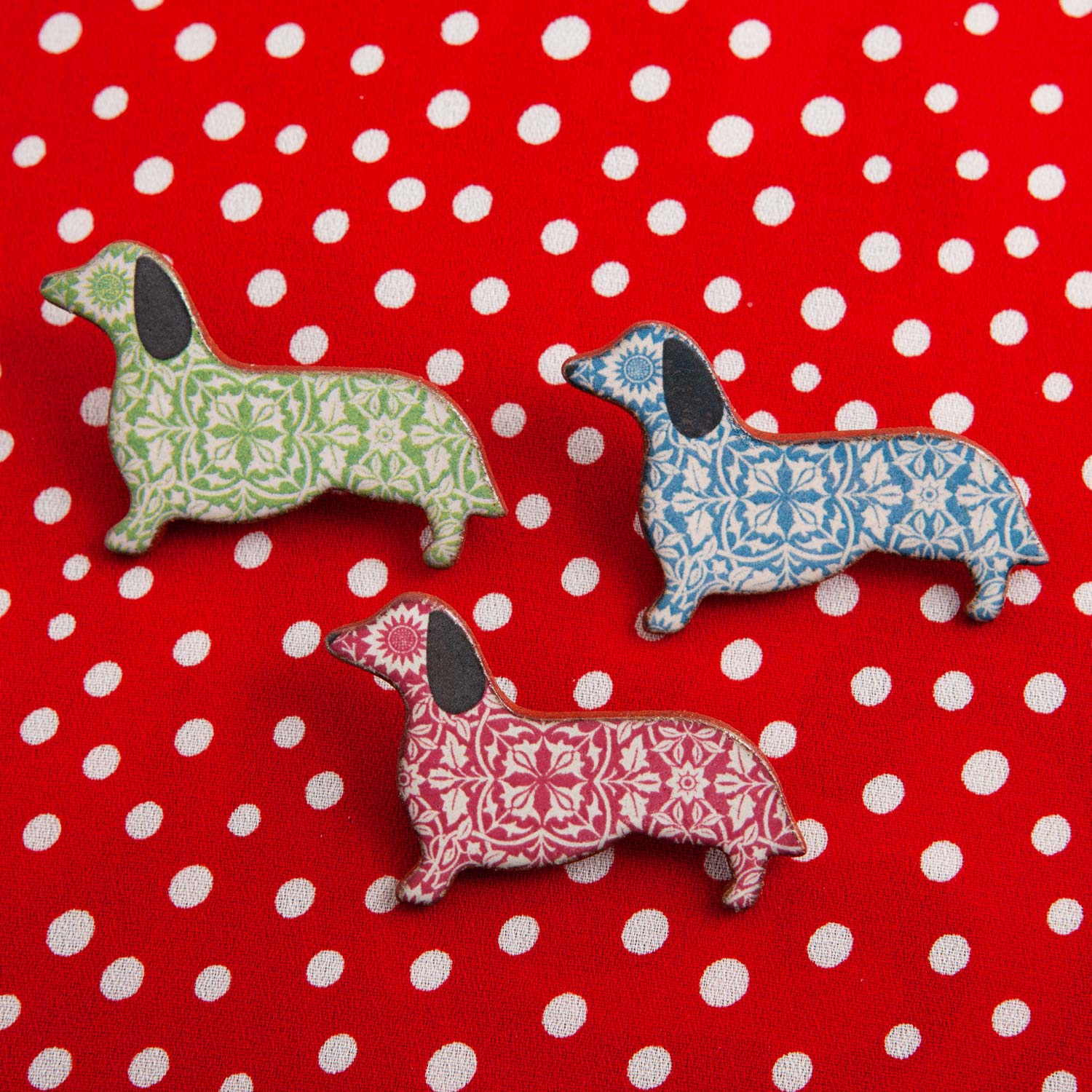 Dog Lover Gifts available at Dog Krazy Gifts – Ceramic Red William Morris Dachshund Brooch by Mary Goldberg of Stockwell Ceramics, Just Part Of Our Collection Of Daxie Themed Gifts, Available At www.dogkrazygifts.co.uk