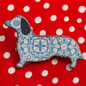 Dog Lover Gifts available at Dog Krazy Gifts – Ceramic Blue William Morris Dachshund Brooch by Mary Goldberg of Stockwell Ceramics, Just Part Of Our Collection Of Daxie Themed Gifts, Available At www.dogkrazygifts.co.uk