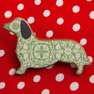 Dog Lover Gifts available at Dog Krazy Gifts – Ceramic Green William Morris Dachshund Brooch by Mary Goldberg of Stockwell Ceramics, Just Part Of Our Collection Of Daxie Themed Gifts, Available At www.dogkrazygifts.co.uk