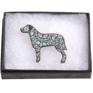 Dog Lover Gifts available at Dog Krazy Gifts – Ceramic Blue William Morris Large Breed Brooch by Mary Goldberg of Stockwell Ceramics, Just Part Of Our Collection Of Dog Themed Gifts, Available At www.dogkrazygifts.co.uk