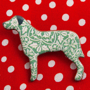 Dog Lover Gifts available at Dog Krazy Gifts – Ceramic Green William Morris Large Breed Brooch by Mary Goldberg of Stockwell Ceramics, Just Part Of Our Collection Of Dog Themed Gifts, Available At www.dogkrazygifts.co.uk