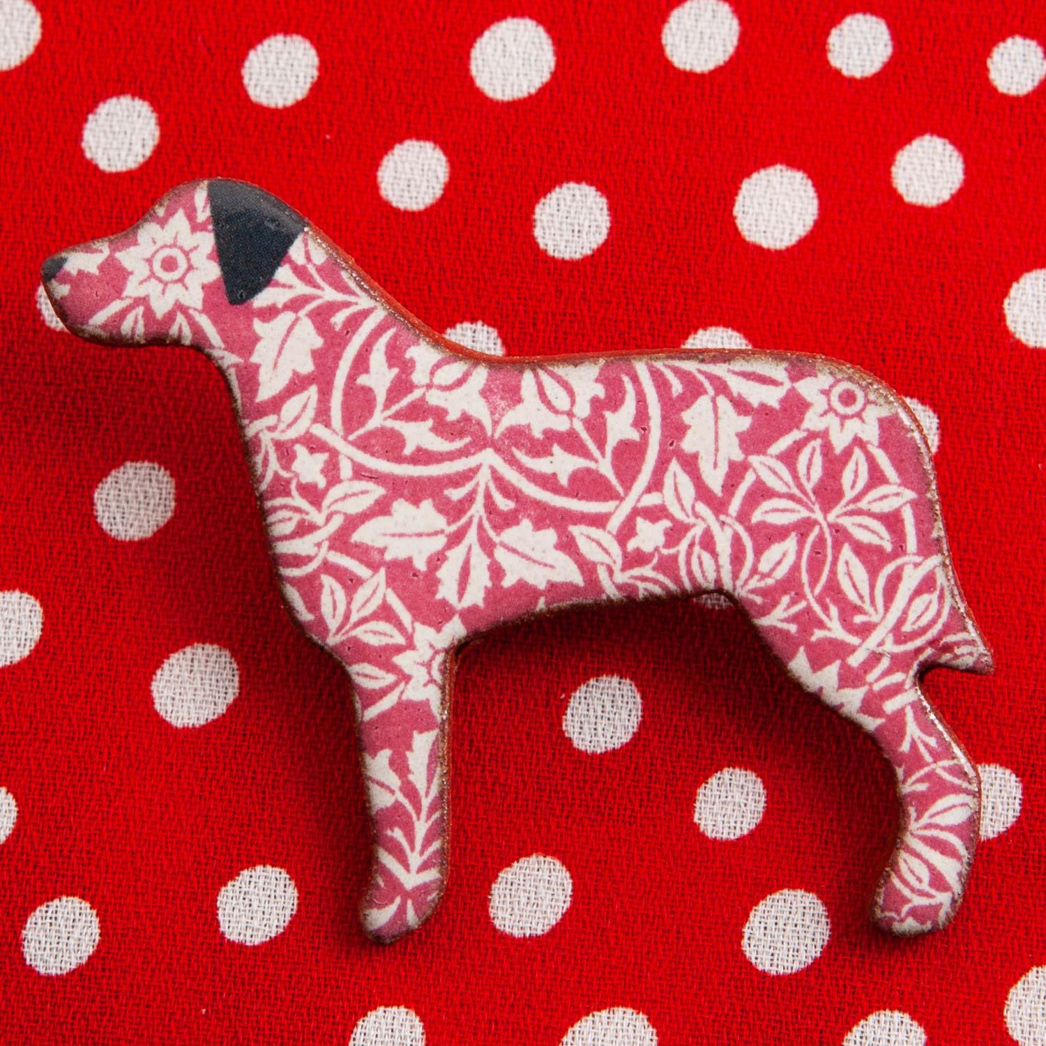 Dog Lover Gifts available at Dog Krazy Gifts – Ceramic Red William Morris Large Breed Brooch by Mary Goldberg of Stockwell Ceramics, Just Part Of Our Collection Of Dog Themed Gifts, Available At www.dogkrazygifts.co.uk