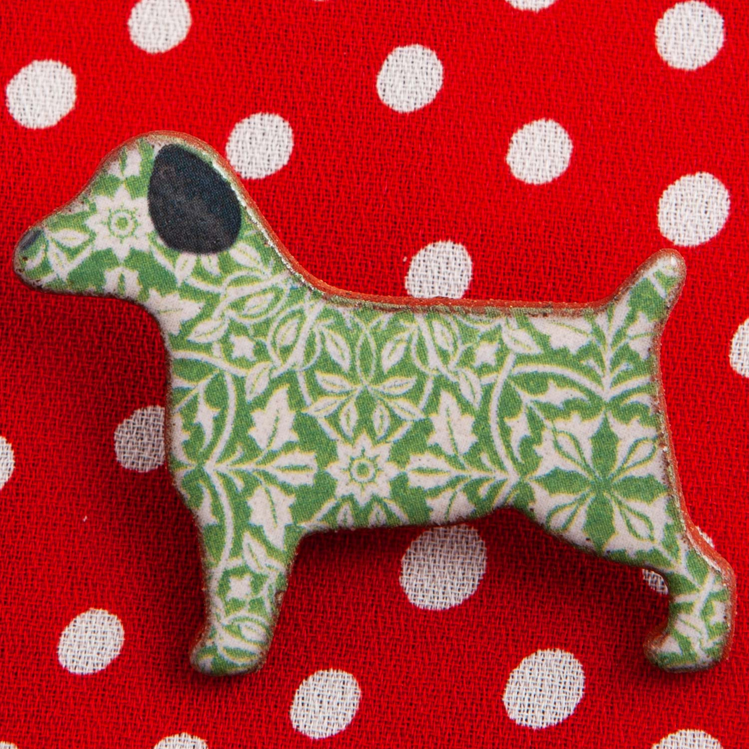 Dog Lover Gifts available at Dog Krazy Gifts – Ceramic Green William Morris Terrier Brooch by Mary Goldberg of Stockwell Ceramics, Just Part Of Our Collection Of Terrier Themed Gifts, Available At www.dogkrazygifts.co.uk