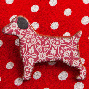 Dog Lover Gifts available at Dog Krazy Gifts – Ceramic Red William Morris Terrier Brooch by Mary Goldberg of Stockwell Ceramics, Just Part Of Our Collection Of Terrier Themed Gifts, Available At www.dogkrazygifts.co.uk