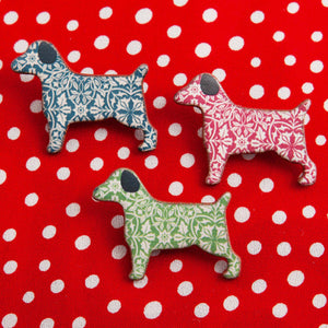 Dog Lover Gifts available at Dog Krazy Gifts – Ceramic Blue William Morris Terrier Brooch by Mary Goldberg of Stockwell Ceramics, Just Part Of Our Collection Of Terrier Themed Gifts, Available At www.dogkrazygifts.co.uk