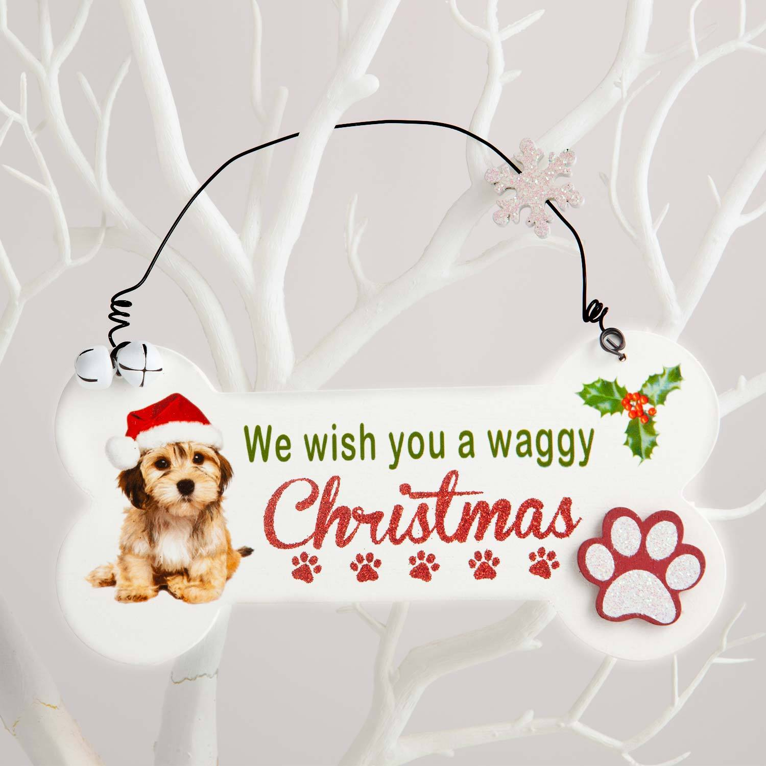 Dog Krazy Gifts - Waggy Christmas Bone Sign - part of the Christmas range of Dog Themed Gifts available from DogKrazyGifts.co.uk