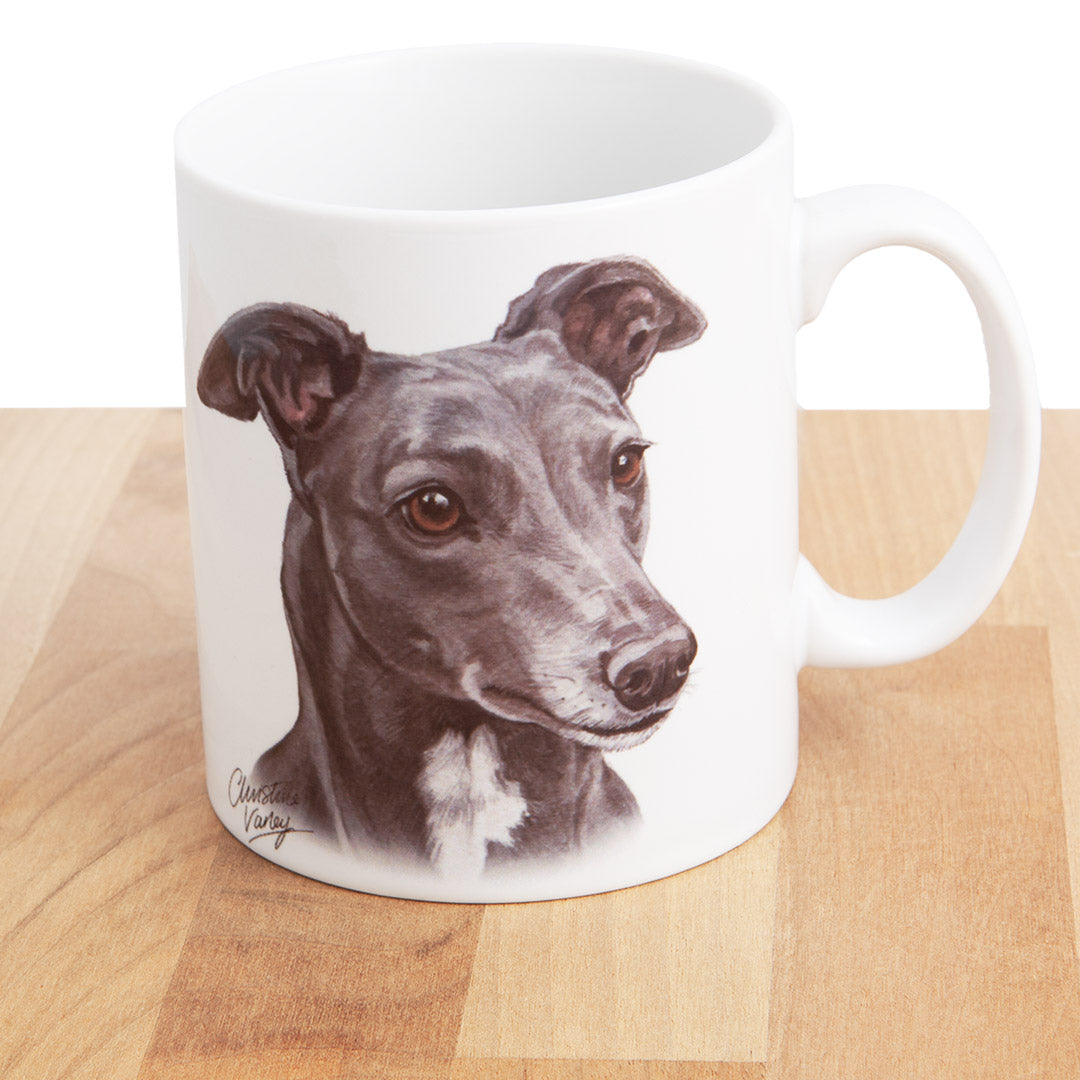 Dog Lover Gifts available at Dog Krazy Gifts - Blue Grey Hound Mug, part of our Christine Varley collection – available at www.dogkrazygifts.co.uk
