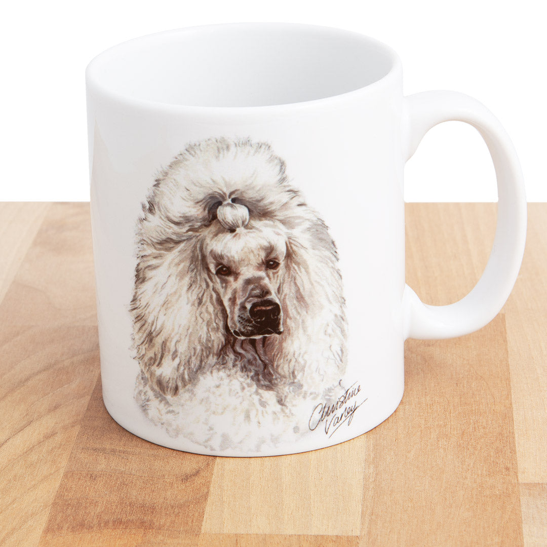 Dog Lover Gifts available at Dog Krazy Gifts - White Standard Poodle Mug, part of our Christine Varley collection – available at www.dogkrazygifts.co.uk