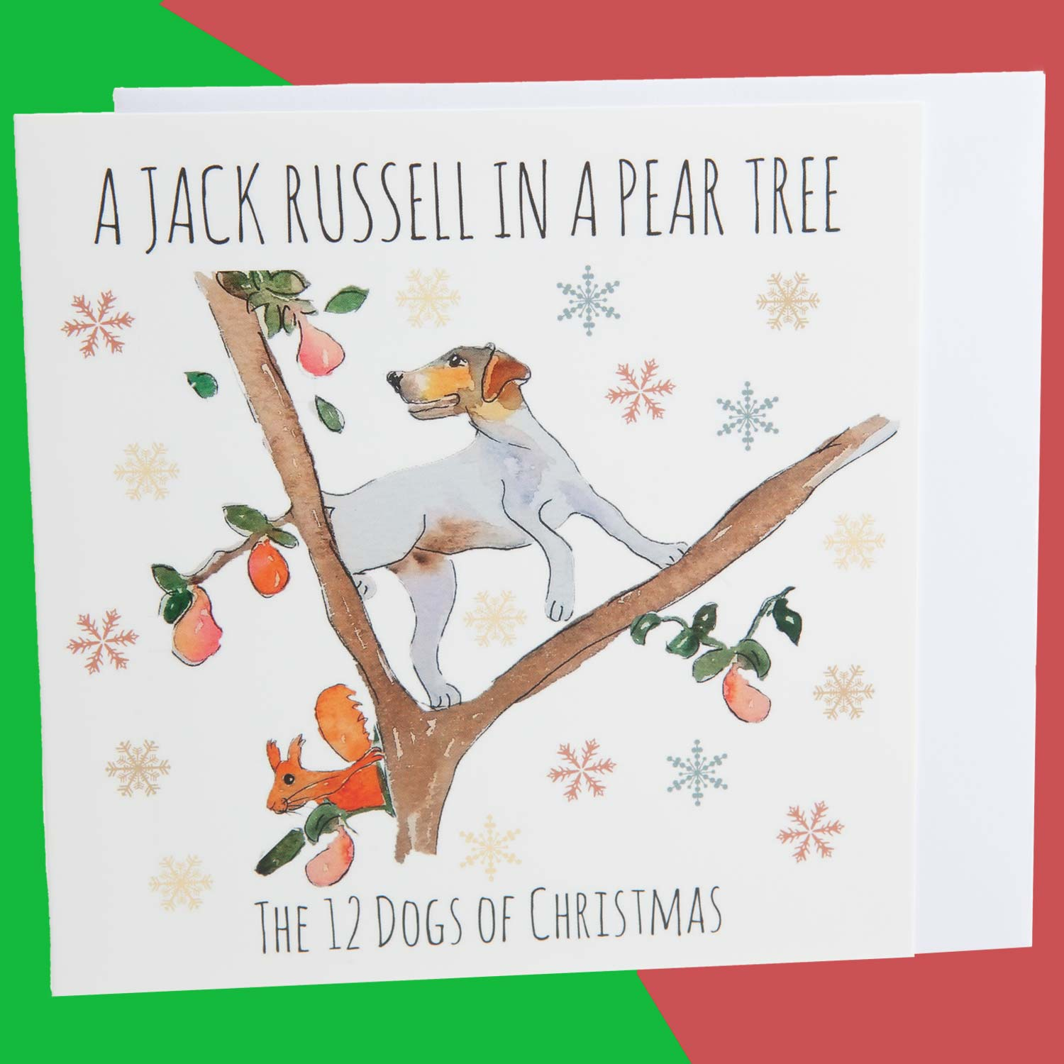 Dog Krazy Gifts - A Jack Russell In A Pear Tree - Part of the 12 Dogs of Christmas card collection available from DogKrazyGifts.co.uk