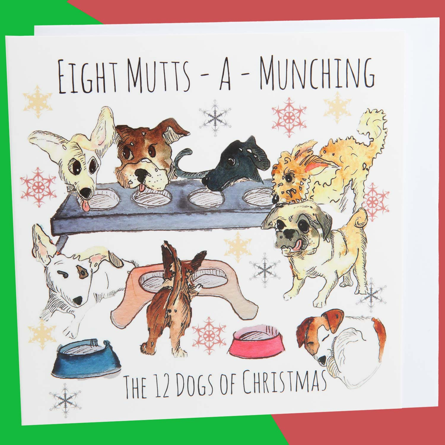 Dog Krazy Gifts - Eight Mutts A Munching - Part of the 12 Dogs of Christmas card collection available from DogKrazyGifts.co.uk