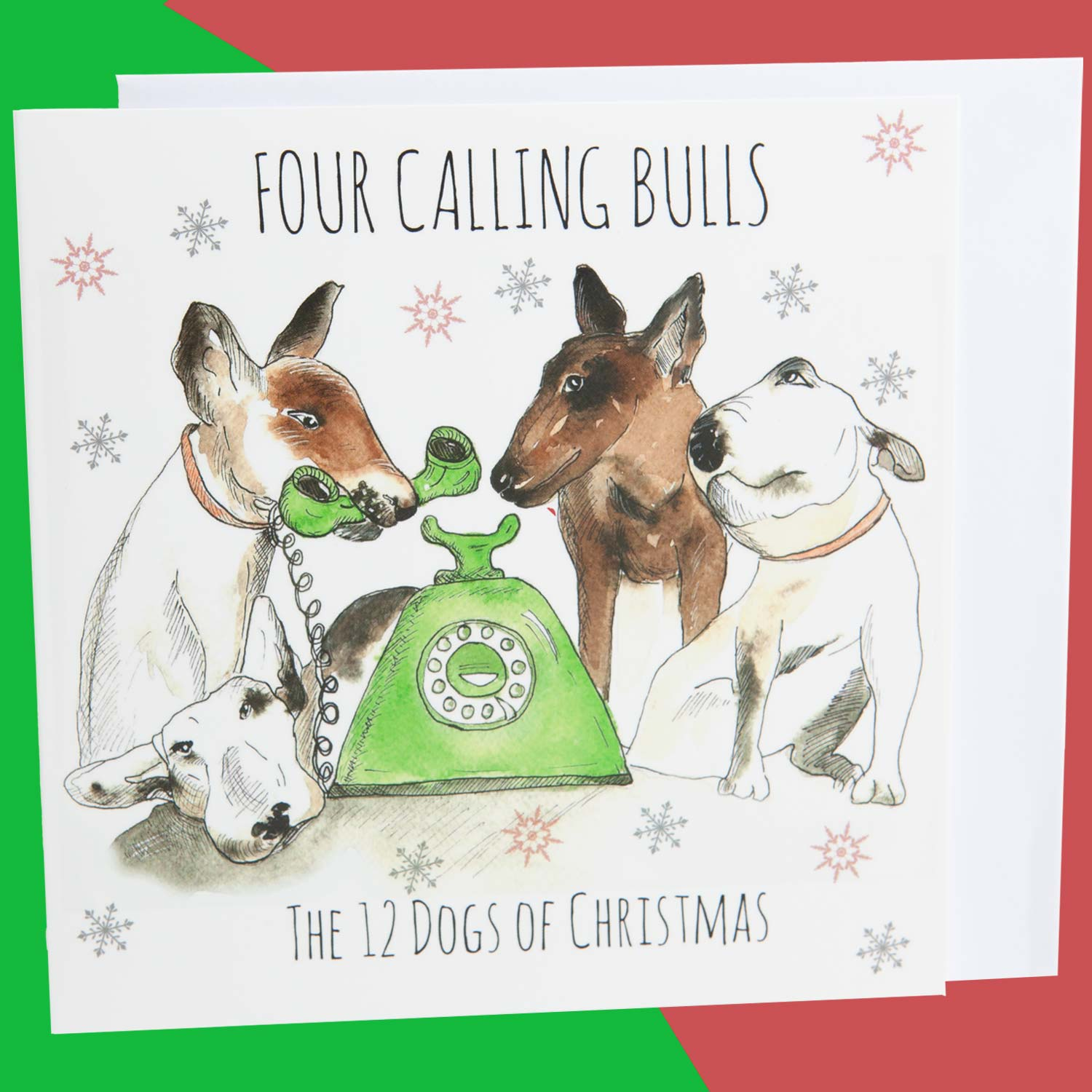 Dog Krazy Gifts - Four Calling Bulls - Part of the 12 Dogs of Christmas card collection available from DogKrazyGifts.co.uk