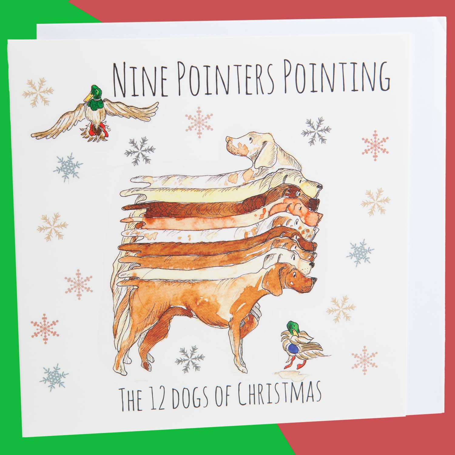 Dog Krazy Gifts - Nine Pointers Pointing - Part of the 12 Dogs of Christmas card collection available from DogKrazyGifts.co.uk