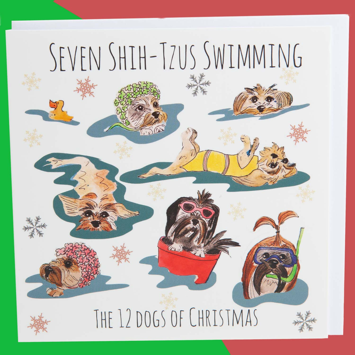Dog Krazy Gifts - Seven Shih-Tzus Swimming - Part of the 12 Dogs of Christmas card collection available from DogKrazyGifts.co.uk