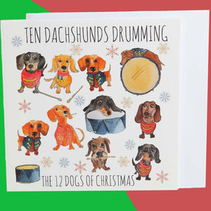 Dog Krazy Gifts - Ten Dachshunds Drumming - Part of the 12 Dogs of Christmas card collection available from DogKrazyGifts.co.uk