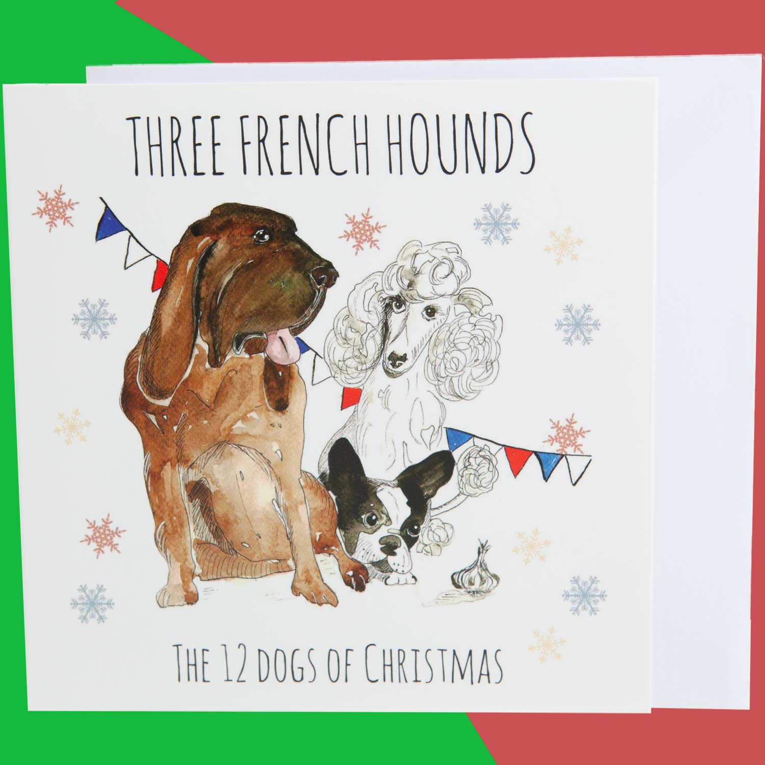 Dog Krazy Gifts - Three French Hounds - Part of the 12 Dogs of Christmas card collection available from DogKrazyGifts.co.uk