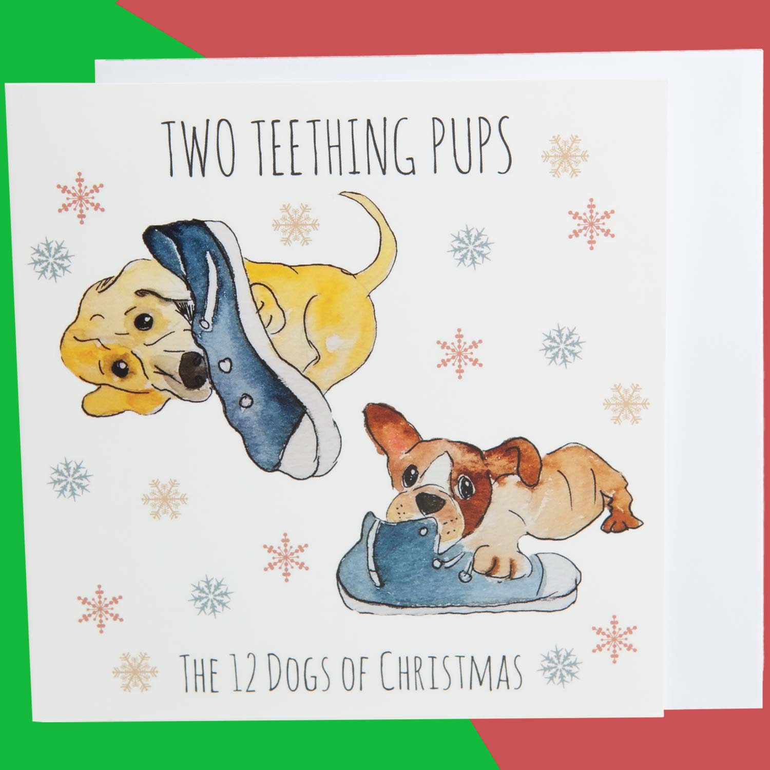 Dog Krazy Gifts - Two Teething Puppies - Part of the 12 Dogs of Christmas card collection available from DogKrazyGifts.co.uk