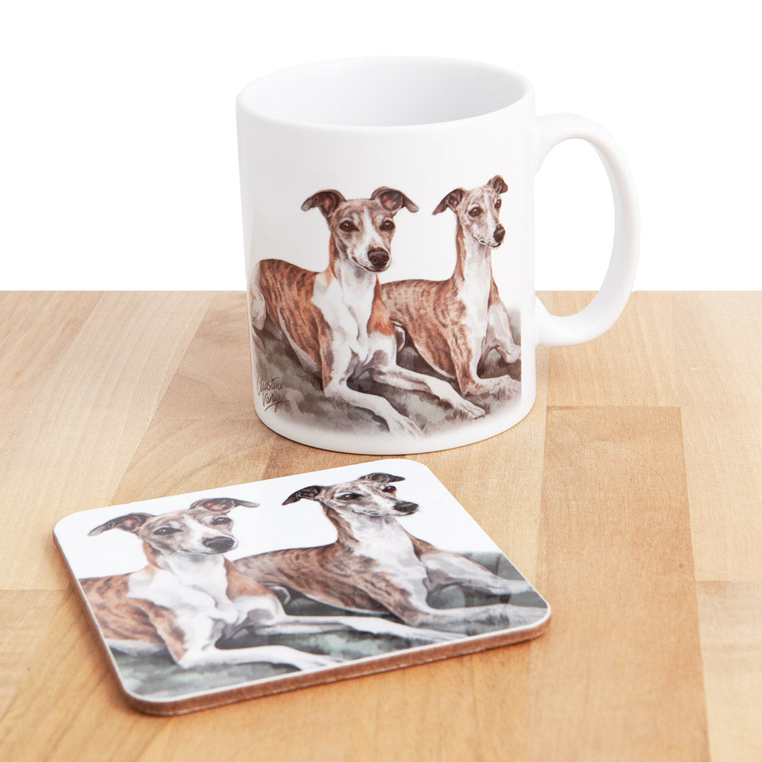 Dog Lover Gifts available at Dog Krazy Gifts - Brindle Whippets Mug and Coaster set, part of our Christine Varley collection – available at www.dogkrazygifts.co.uk
