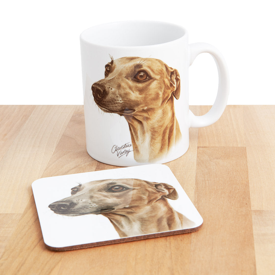Dog Lover Gifts available at Dog Krazy Gifts - Fawn Whippet Mug and Coaster set, part of our Christine Varley collection – available at www.dogkrazygifts.co.uk