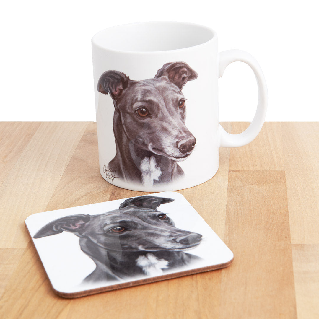 Dog Lover Gifts available at Dog Krazy Gifts - Blue Grey Hound Mug and Coaster set, part of our Christine Varley collection – available at www.dogkrazygifts.co.uk