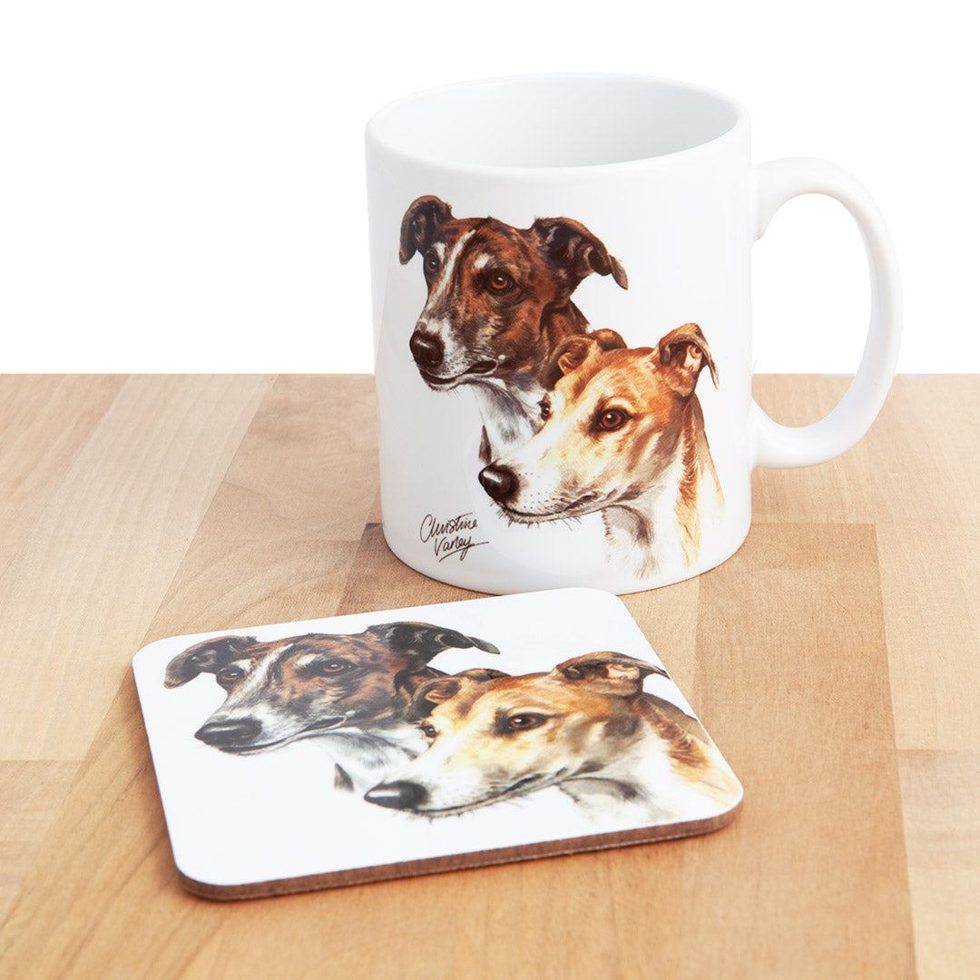 Dog Lover Gifts available at Dog Krazy Gifts - Pair Grey Hounds Mug and Coaster set, part of our Christine Varley collection – available at www.dogkrazygifts.co.uk