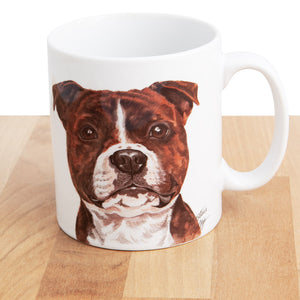Dog Lover Gifts available at Dog Krazy Gifts - Staffordshire Bull Terrier Mug and Coaster set, part of our Christine Varley collection – available at www.dogkrazygifts.co.uk