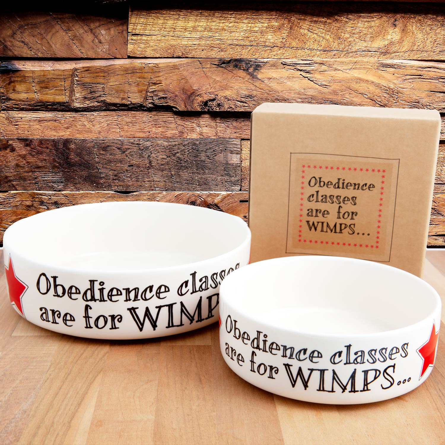 Dog Lover Gifts available at Dog Krazy Gifts - Obedience classes are for WIMPS earthenware dog bowl in 2 sizes - part of the Sweet William Designs range available from DogKrazyGifts.co.uk