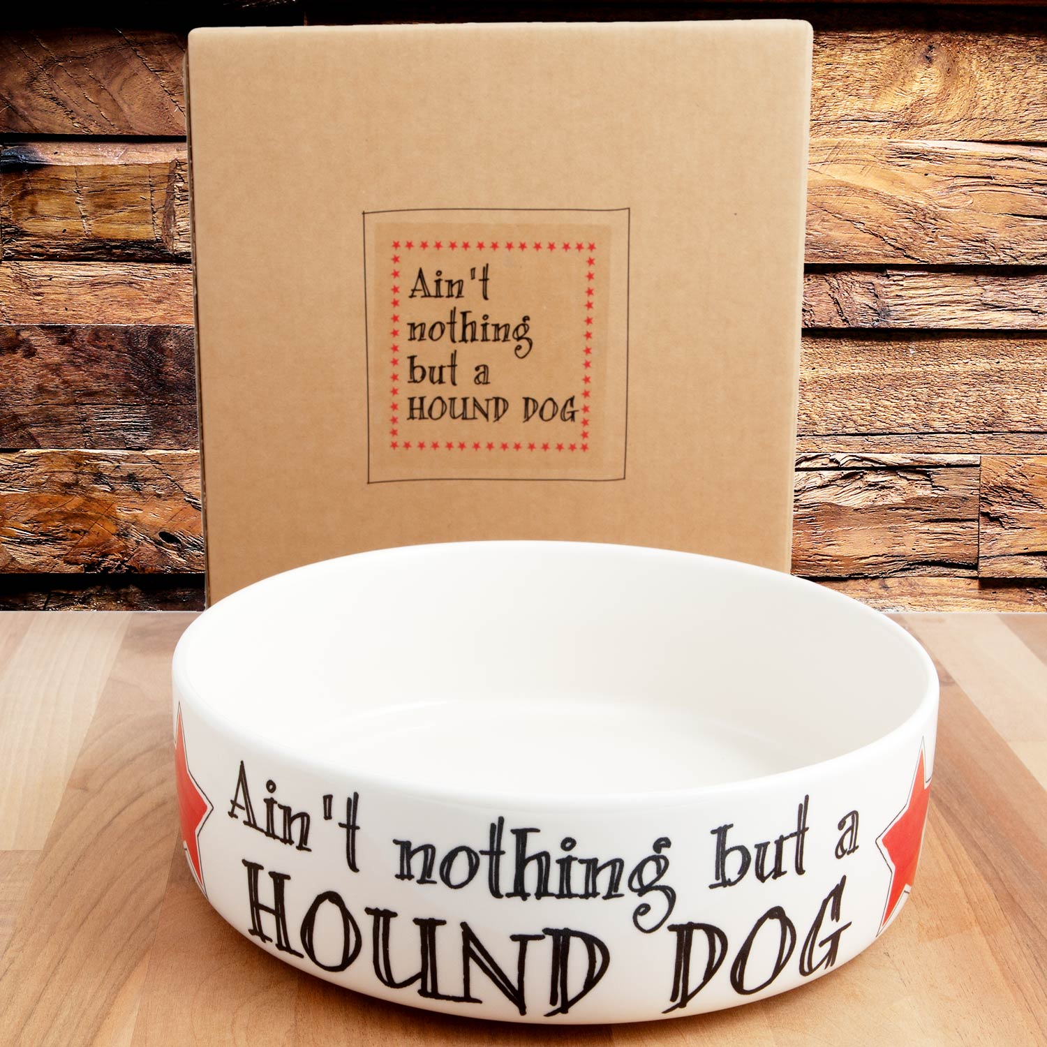 Dog Lover Gifts available at Dog Krazy Gifts – Ain't nothing but a Hound Dog earthenware dog bowl in 2 sizes - part of the Sweet William Designs range available from DogKrazyGifts.co.uk