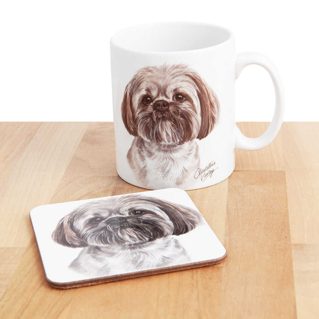 Dog Lover Gifts available at Dog Krazy Gifts - Lhasa Apso Mug and Coaster set, part of our Christine Varley collection – available at www.dogkrazygifts.co.uk