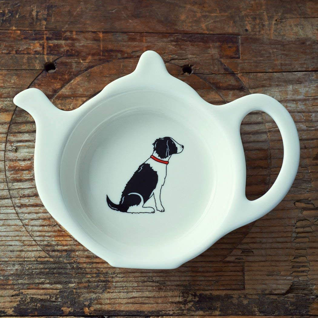 Dog Lover Gifts available at Dog Krazy Gifts - Black & WHite SPringer Spaniel Teabag Dish Charles – available at www.dogkrazygifts.co.uk