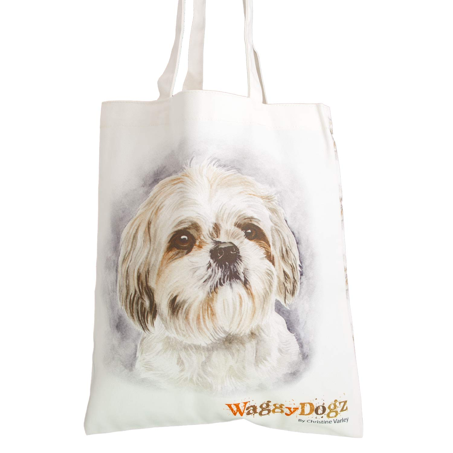 Dog Lover Gifts available at Dog Krazy Gifts. Shih Tzu Bag, part of our Christine Varley collection – available at www.dogkrazygifts.co.uk A Double Sided organic Cotton Tote bag featuring a painting of a Shih Tzu Dog by Christine Varley, made and printed in Great Britain
