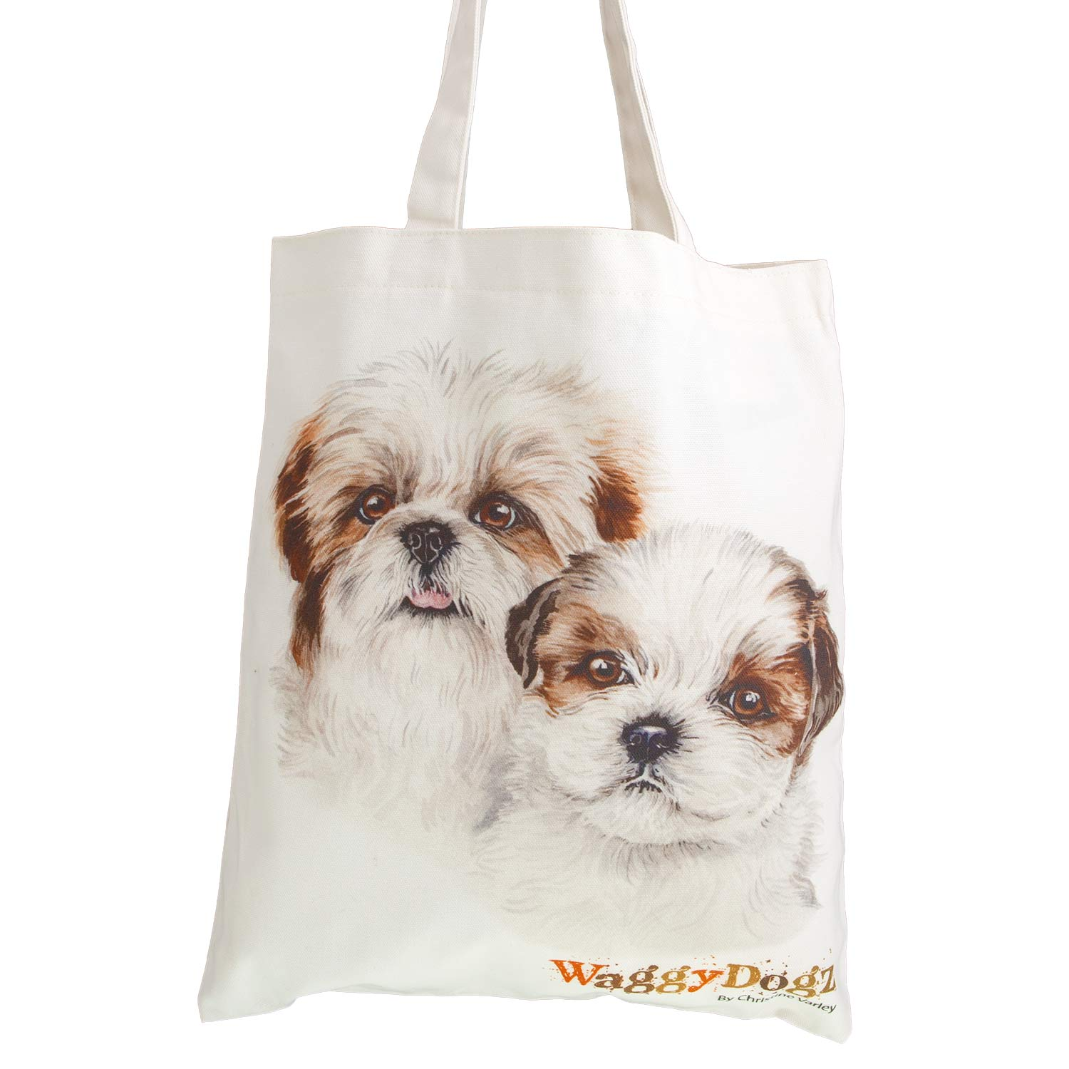 Dog Lover Gifts available at Dog Krazy Gifts. Shih Tzu puppies Bag, part of our Christine Varley collection – available at www.dogkrazygifts.co.uk A Double Sided organic Cotton Tote bag featuring a painting of a pair of Shih Tzu Dogs by Christine Varley, made and printed in Great Britain