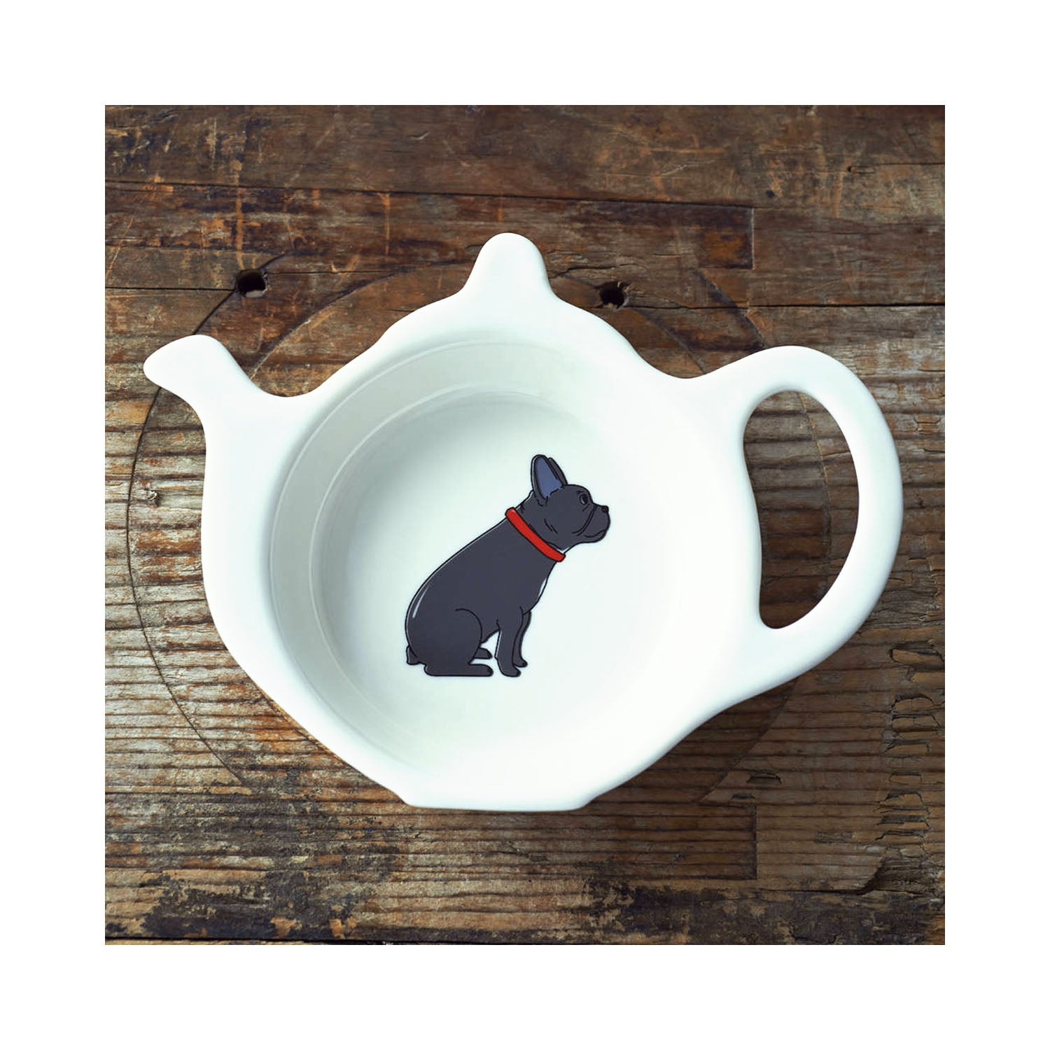 Dog Lover Gifts available at Dog Krazy Gifts - Freddie The French Bulldog Teabag Dish - part of the Sweet William range available from Dog Krazy Gifts