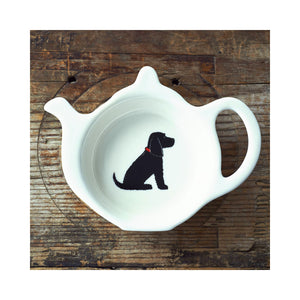 Dog Lover Gifts available at Dog Krazy Gifts - Hugo The Black Cocker Spaniel Teabag Dish - part of the Sweet William range available from Dog Krazy Gifts