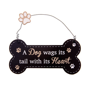 DogKrazyGifts - Doggie Pals Hanging Bone - A Dog wags its tail with its Heart - part of the range of Dog Themed Signs available from Dog Krazy Gifts