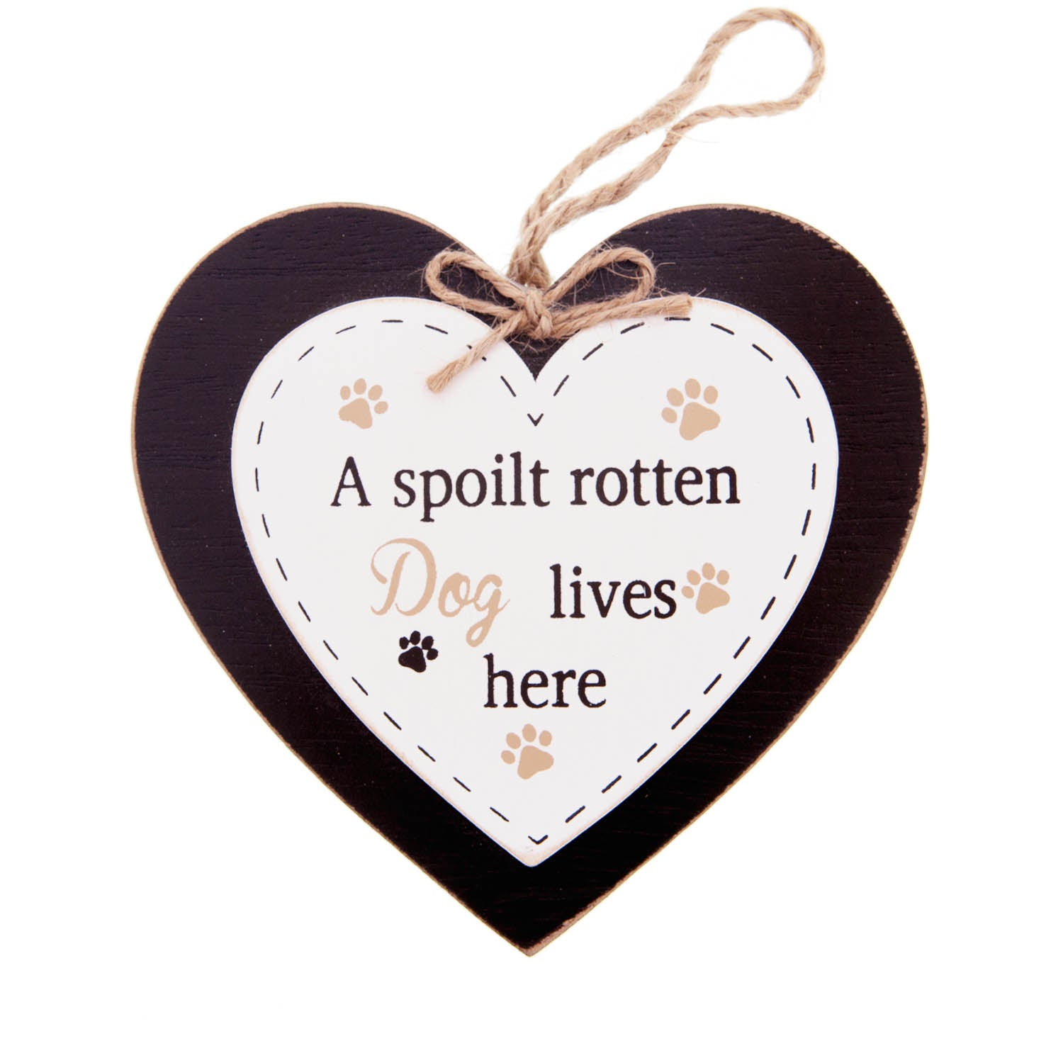 DogKrazyGifts - Doggie Pals Hanging Heart - A spoilt rotten Dog lives here - part of the range of Dog Themed Signs available from Dog Krazy Gifts