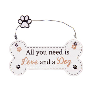 DogKrazyGifts - Doggie Pals Hanging Bone - All you need is Love and a Dog - part of the range of Dog Themed Signs available from Dog Krazy Gifts