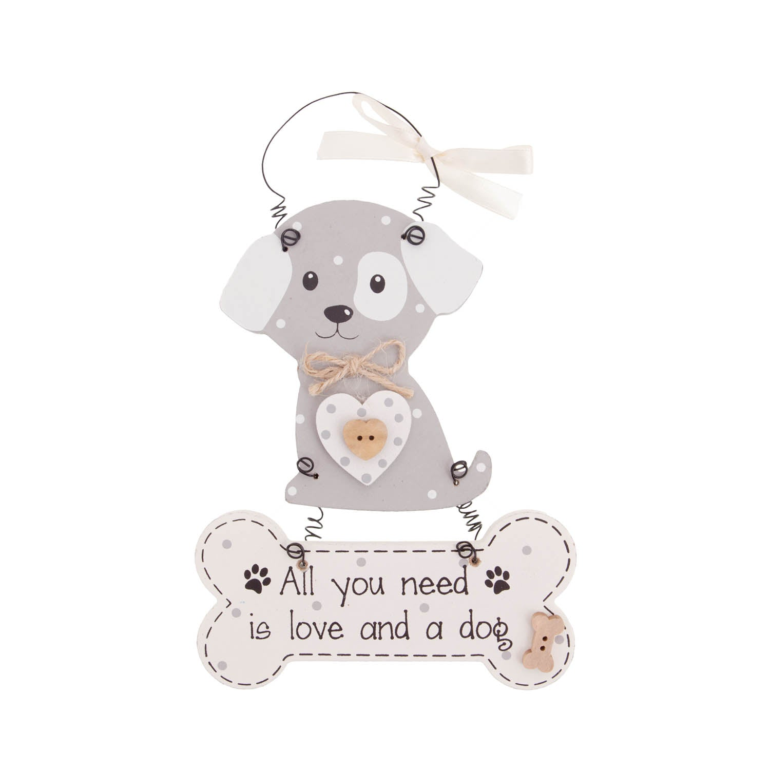 DogKrazyGifts - Faithful Pooch Dangly Dog and Bone - All you need is love and a dog - part of the range of Dog Themed Signs available from Dog Krazy Gifts