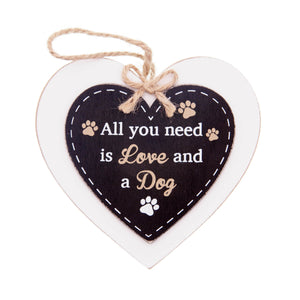 DogKrazyGifts - Doggie Pals Hanging Heart - All you need is Love and a Dog - part of the range of Dog Themed Signs available from Dog Krazy Gifts
