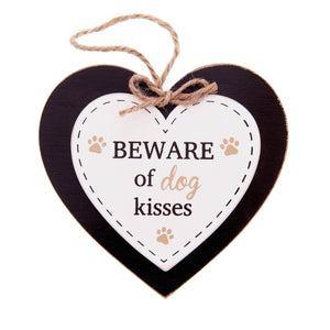 DogKrazyGifts - Doggie Pals Hanging Heart - BEWARE of dog kisses - part of the range of Dog Themed Signs available from Dog Krazy Gifts