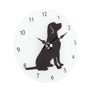 DogKrazyGifts - Labrador Silhouette Glass Clock, part of the Labrador range available from DogKrazyGifts.co.uk