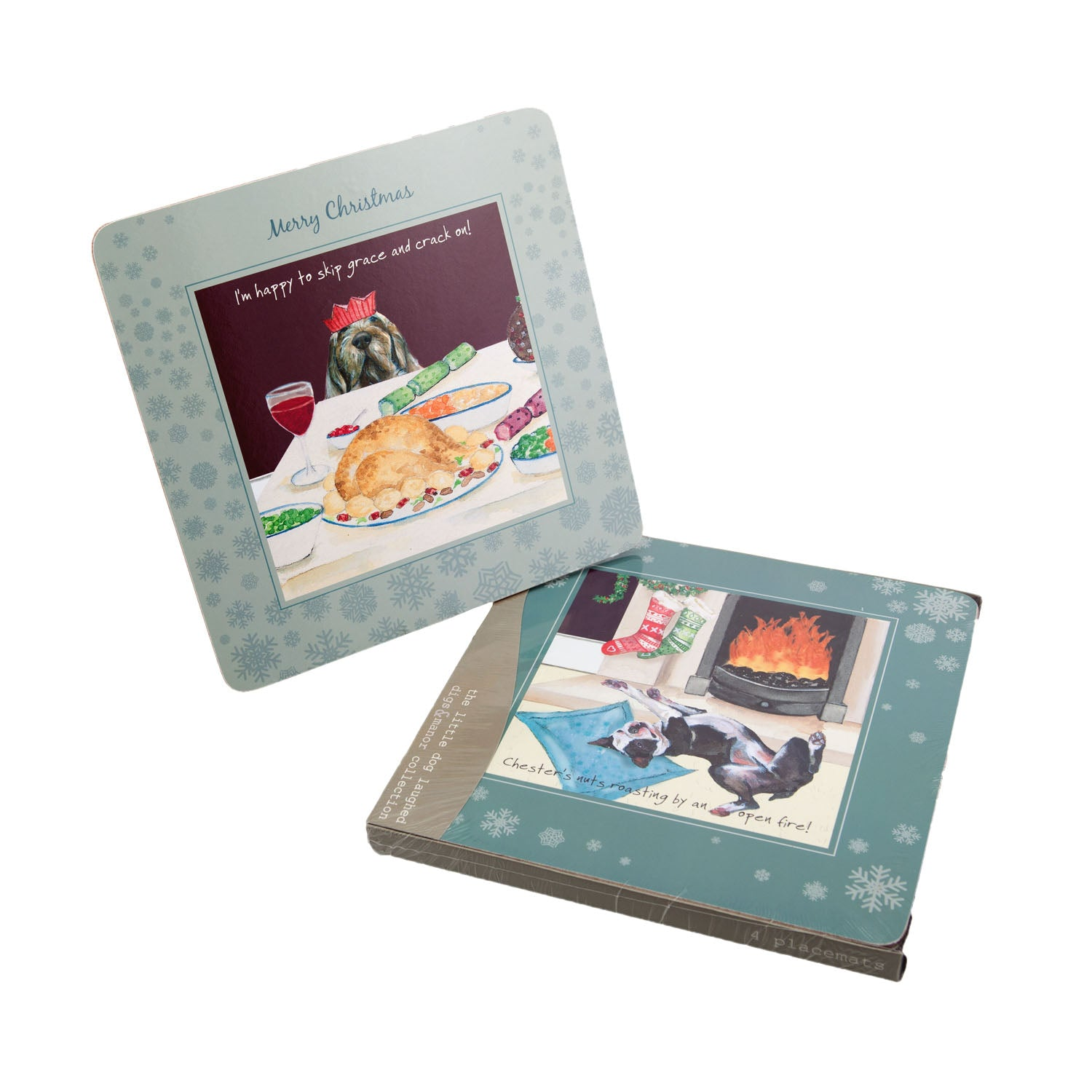 DogKrazyGifts - digs and manor Christmas Placemat Set - part of the Little Dog Range available from Dog Krazy Gifts