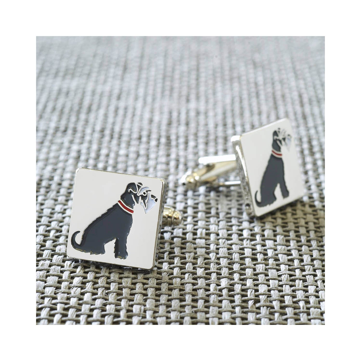 Dog Lover Gifts available at Dog Krazy Gifts - Eddie The Grey and White Schnauzer Cufflink
