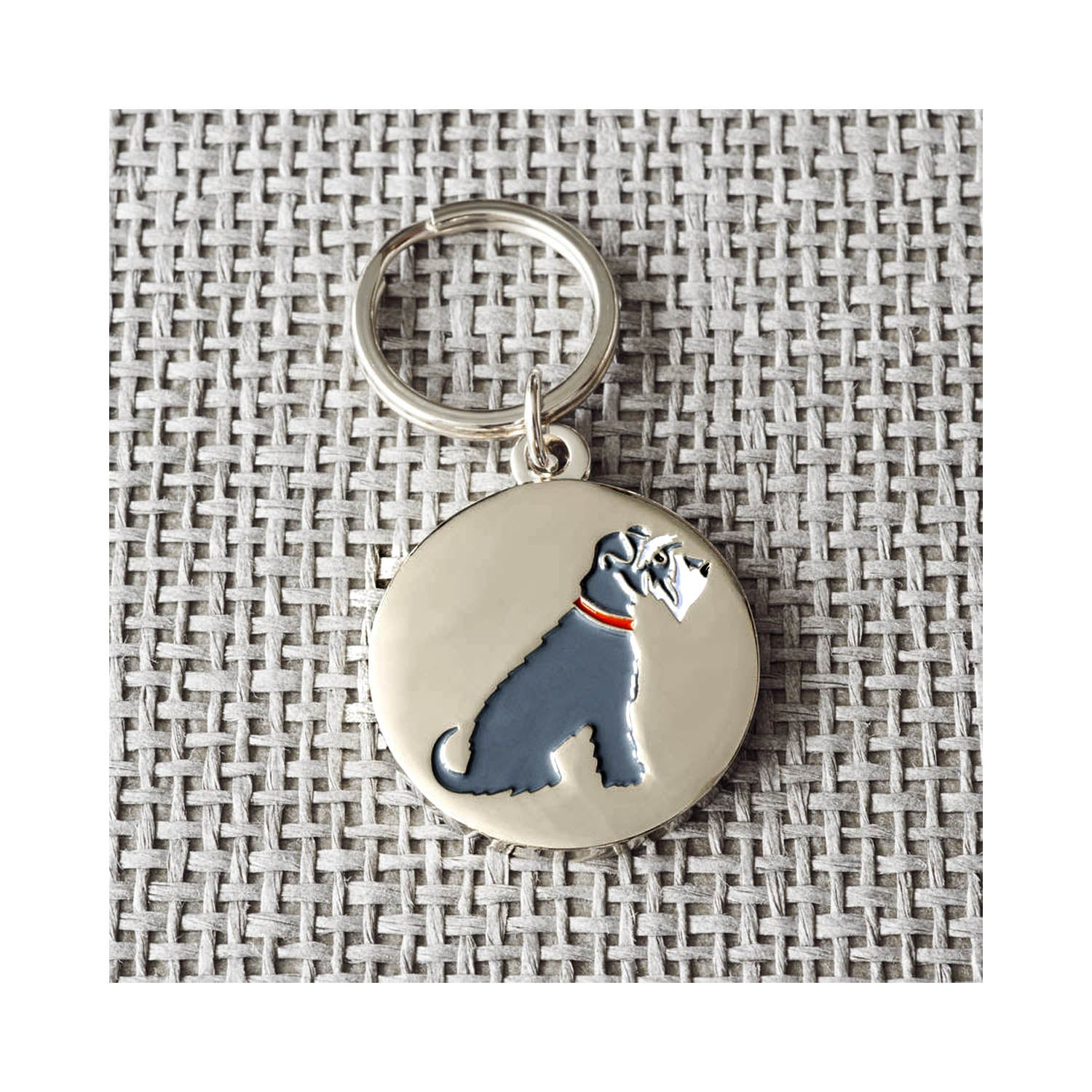 Dog Lover Gifts available at Dog Krazy Gifts - Eddie The Grey and White Schnauzer Cufflink and Dog Tag Set - part of the Sweet William range available from Dog Krazy Gifts