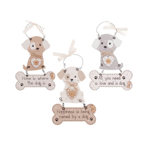 DogKrazyGifts - Faithful Pooch Dangly Dog and Bone Collection - part of the range of Dog Themed Signs available from Dog Krazy Gifts