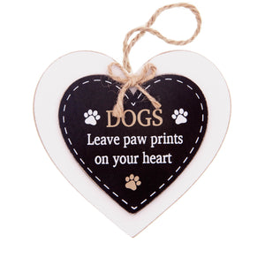 DogKrazyGifts - Doggie Pals Hanging Heart - DOGS Leave paw prints on your heart - part of the range of Dog Themed Signs available from Dog Krazy Gifts