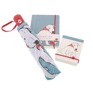 DogKrazyGifts - Douglas The Boy Wonder Flip Notepad, A5 Notebook and Umbrella - from the Little Dog Range available from Dog Krazy Gifts